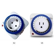 24 часа таймер розетка механический таймер переключатель розетка 230 V/110 в ЕС/США Plug стены защитное устройство выходного отверстия энергия сгорает