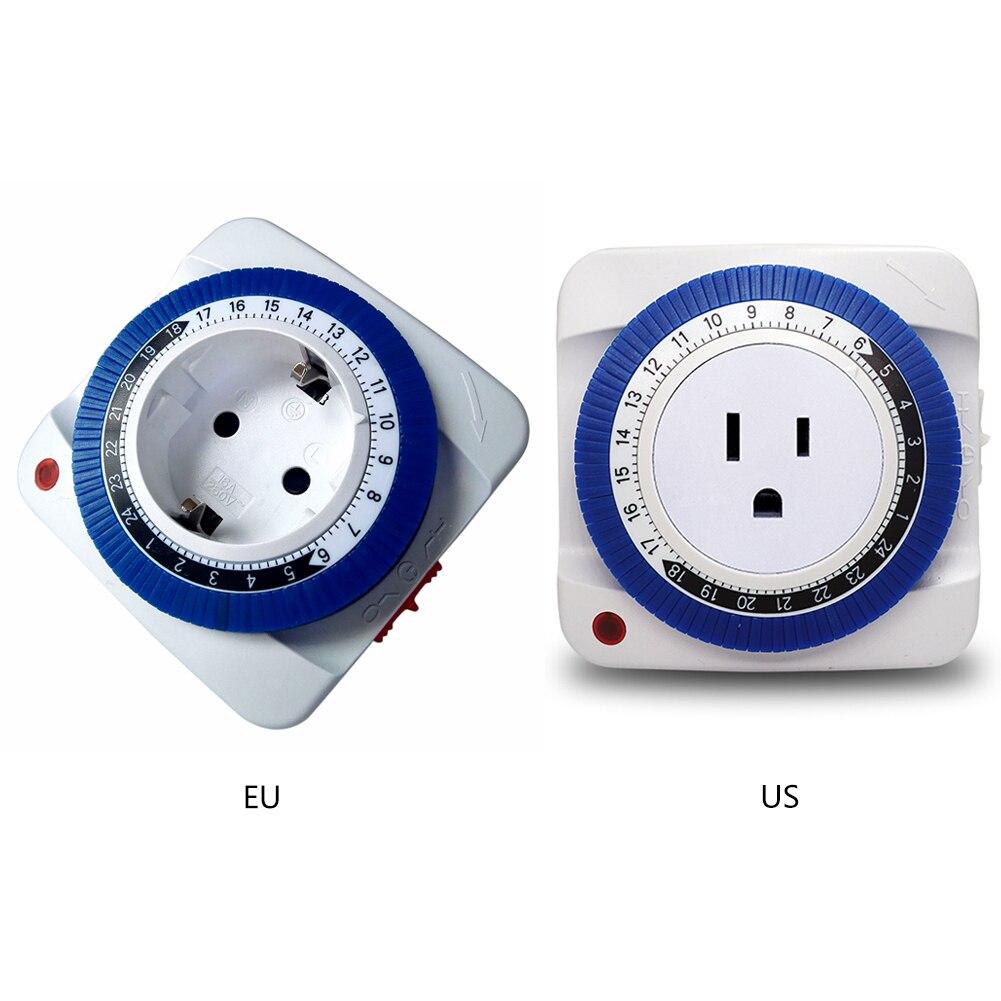 24 Hour Timer Socket Mechanical Program Timer Switch Socket 230V EU/US Plug Wall Outlet Protector Energy Saveing