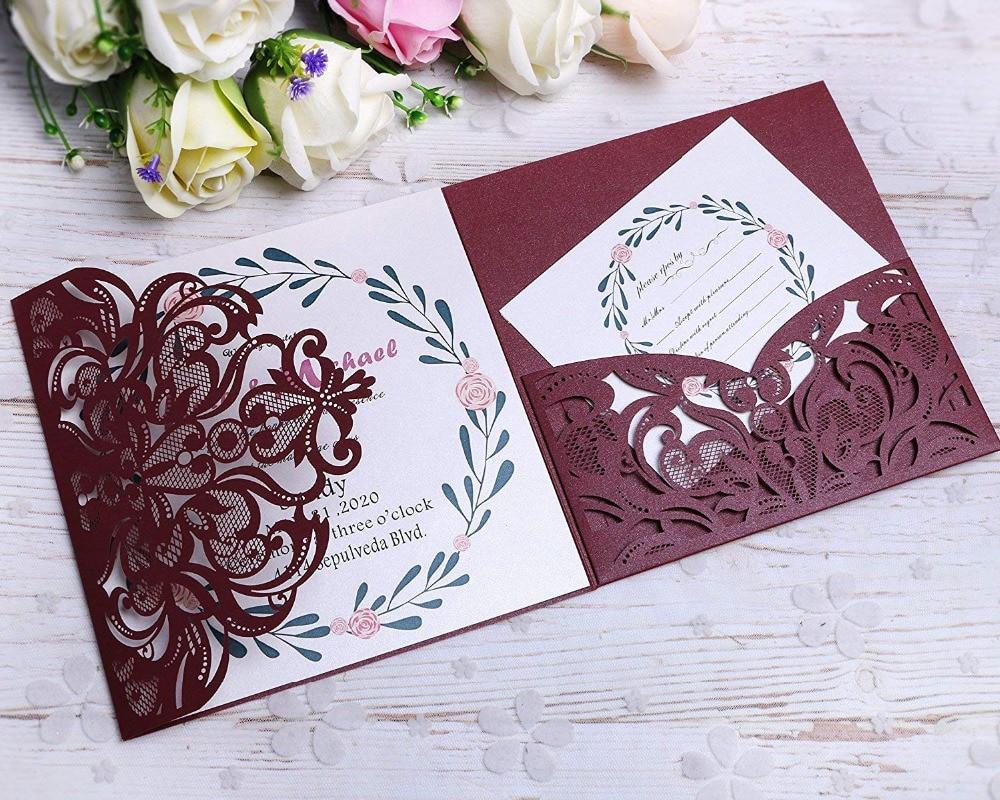 PONATIA 3 Folds Invitation Cards for Wedding Birthday Engagement Greeting Invitations Cards+ Free RSVP (Burgundy )