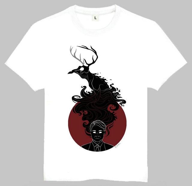 Free Shipping America Drama Hannibal Printing T Shirt Fashion Hannibal Lecter Elk Top Tees