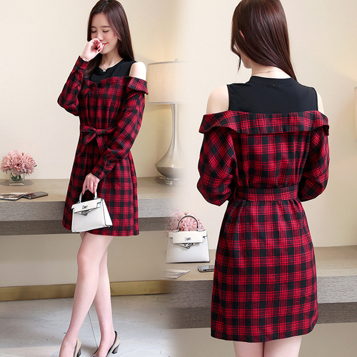 2019 Spring Fake Two Pieces Women Dress Patchwork Casual Off Shoulder Red Plaid Dresses Woman Fashion Sexy Artistic Jurken