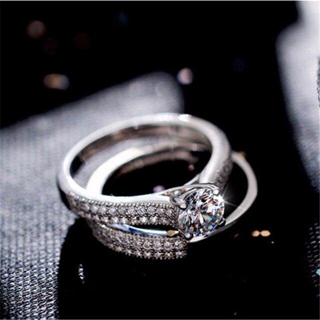 100% 925 Sterling Anelli D'argento per le Donne Doppio Anello di Disegno Semplice Bijoux Femme Nuziale Monili di Cerimonia Nuziale di Fidanzamento Accessori