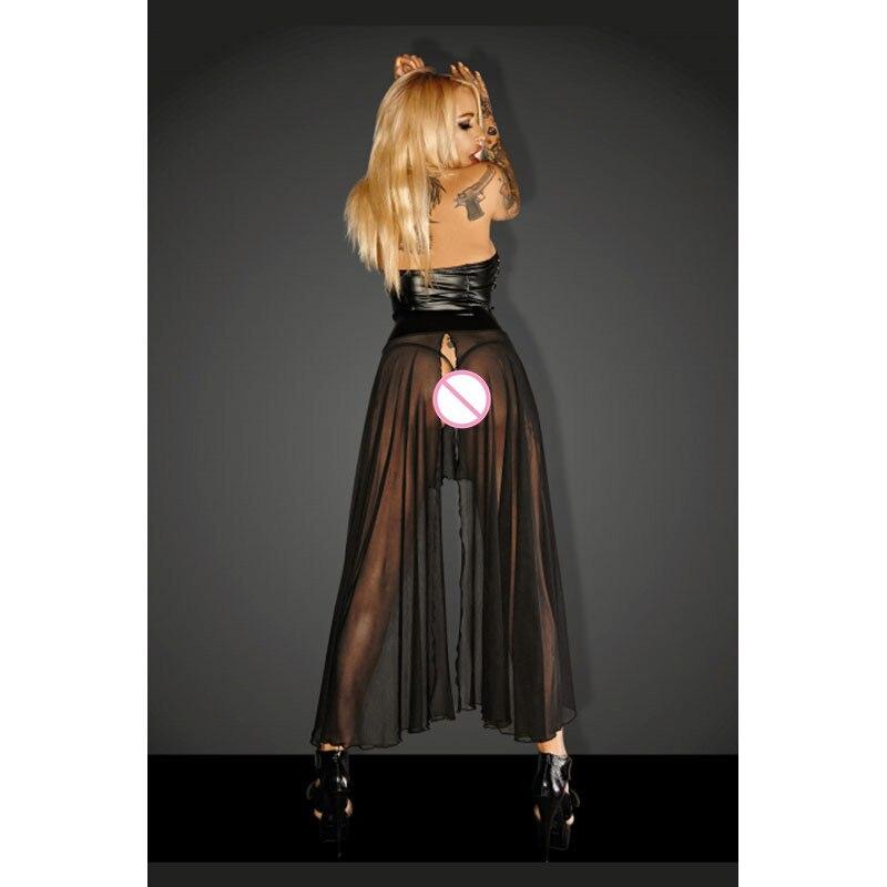 Novas Mulheres Vestido Erótico Halter Forma Cintura Faux Leather Top Transparente Voile Hem Sexy Vinil Lingerie Baby Doll Vestido - 2