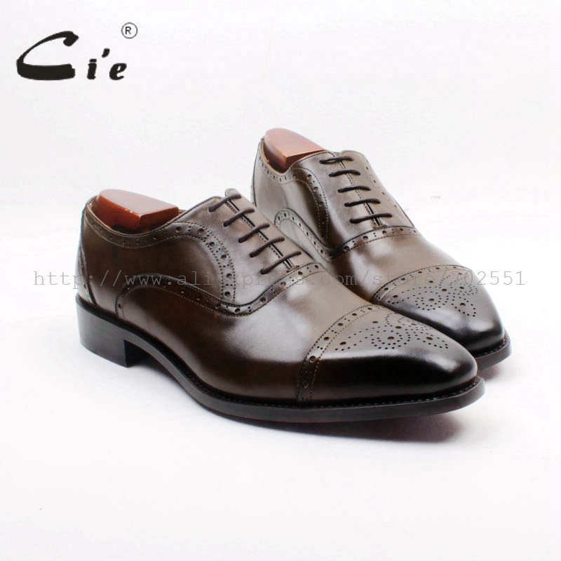 cie Square Toe Semi-Brogues Cut-outs Lace-up Hand-painted Brown Goodyear Welted Handmade 100% Genuine Calf Leather Men ShoeOX719 купить часы haas lt cie mfh211 zsa