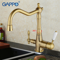 GAPPO 1set gold vintage antique brass deck kitchen filter faucet kitchen sink tap cold and hot water kitchen tap mixer G4391 4