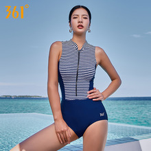 361 Female One Piece Swimsuit Blue Sexy Conjoined Triangle Swimwear Pad Swim Suit for Women Wire Free Pool Bathing