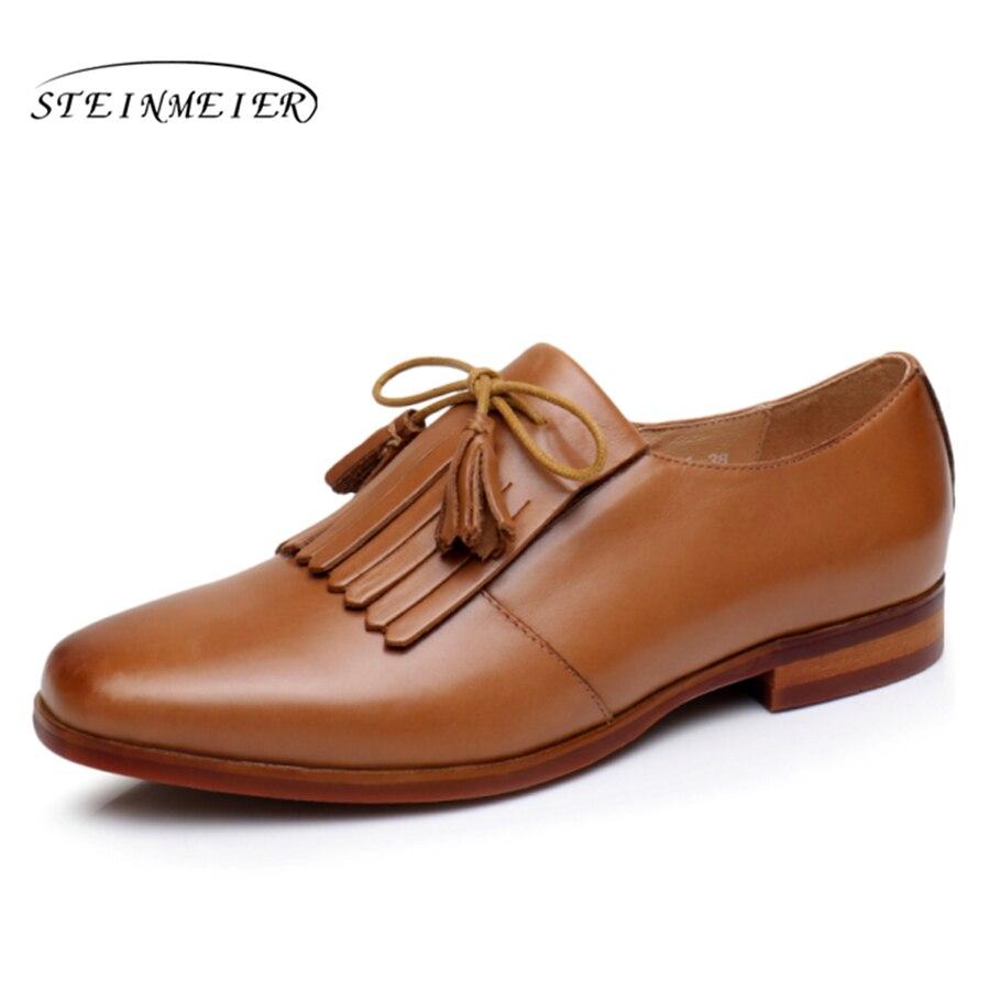 Yinzo สตรี Oxford รองเท้าผู้หญิงรองเท้าหนังแท้รองเท้าผ้าใบสุภาพสตรี Brogues Vintage Casual รองเท้ารองเท้าผู้หญิงรองเท้า-ใน รองเท้าส้นเตี้ยสตรี จาก รองเท้า บน   1