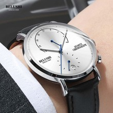 Belushi moda relógios de quartzo masculino marca superior ultra fino couro relógio masculino à prova dwaterproof água data automática relogio masculino