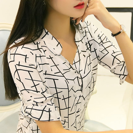 Women's Clothing Loyal Blouse Women Summer New Arrivel 2019 Korean Professional Geometric Chiffon Shirts Stripe Women Sleeve Vestidos Wj137 Providing Amenities For The People; Making Life Easier For The Population
