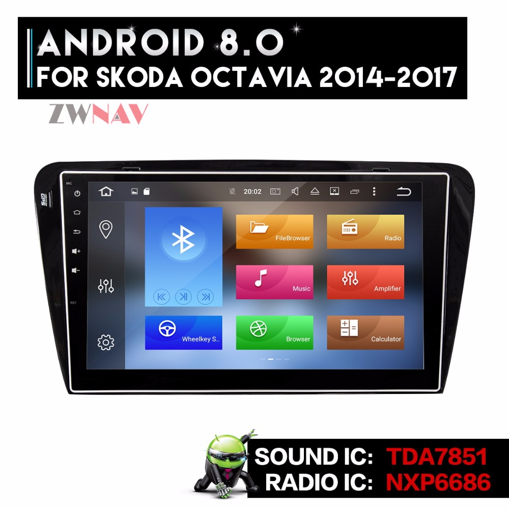 Android 8.0 8 Core Car GPS Navigation Auto Radio DVD Player Head Unit For Skoda Octavia  ...