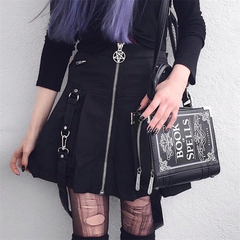Image 2 - InstaHot Halloween Gothic A Line Skirts Women Autumn Zipper Pleated Plaid School  Mini Skirt Strap Sexy Solid Suspender Bottom-in Skirts from Women's Clothing