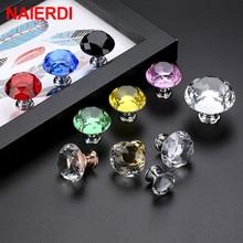 NAIERDI 30mm Diamond Shape Design Crystal Glass Knobs Cupboard Pulls Drawer Kitchen Cabinet Handles Furniture Handle