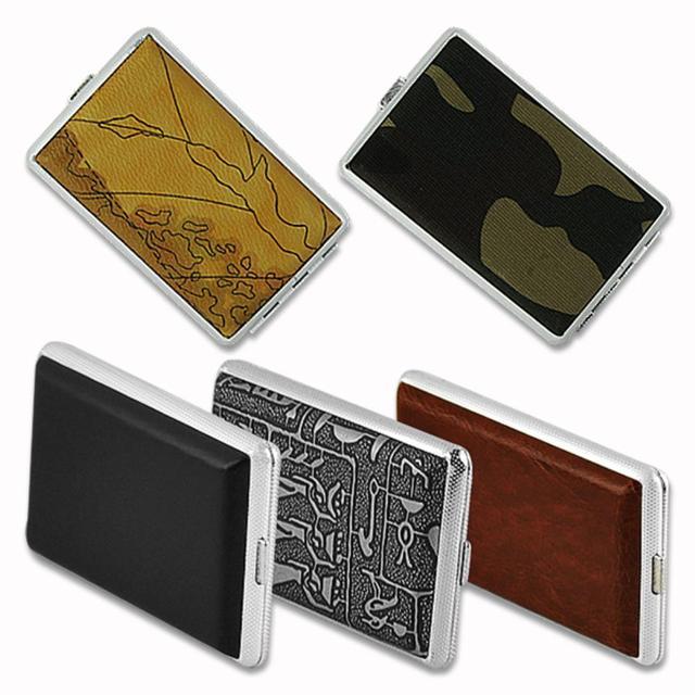 Soporte 12 14 16 18 20 ahumador caja para cigarrillos de cuero clásico caja de Metal para fumar caja de tabaco para regalo de hombres