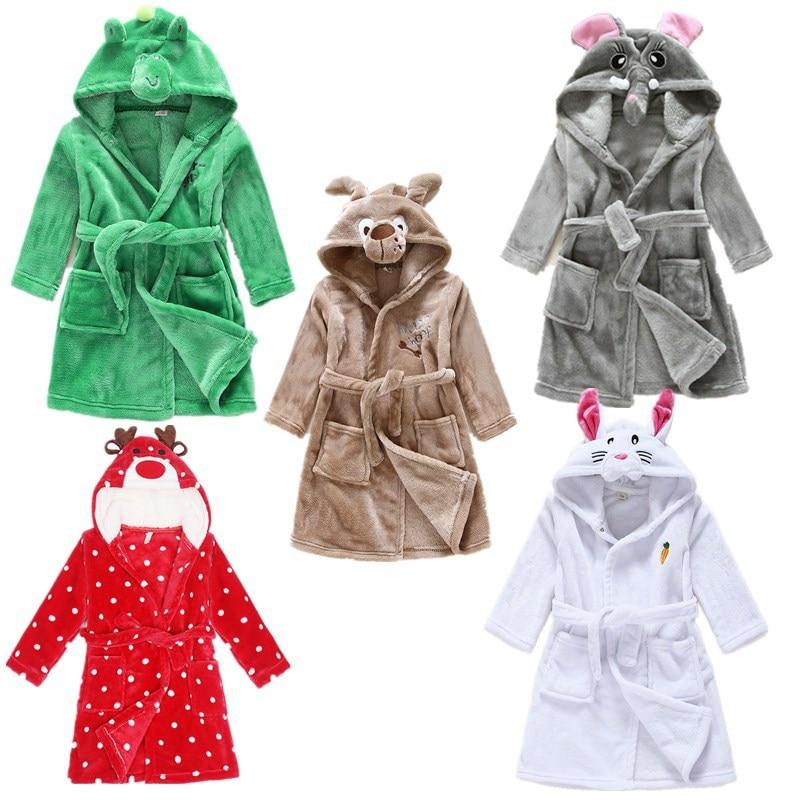 Cute Baby Bathrobes for Girls Pajamas Kids Puppy Bunny Deer Elephant Pattern Hooded Beach Towel Boys Bath Robe Sleepwear