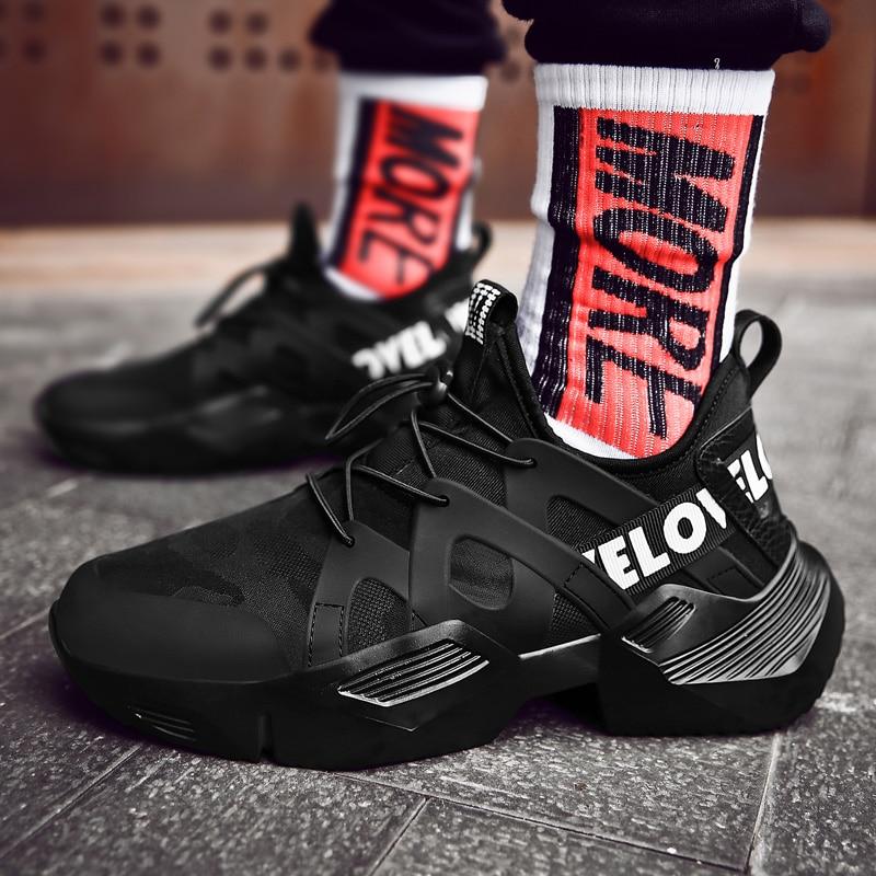 LZJ Chunky Shoes Vulcanized-Shoes Sneakers Men Anti-Slip Black White New Upper Lycra