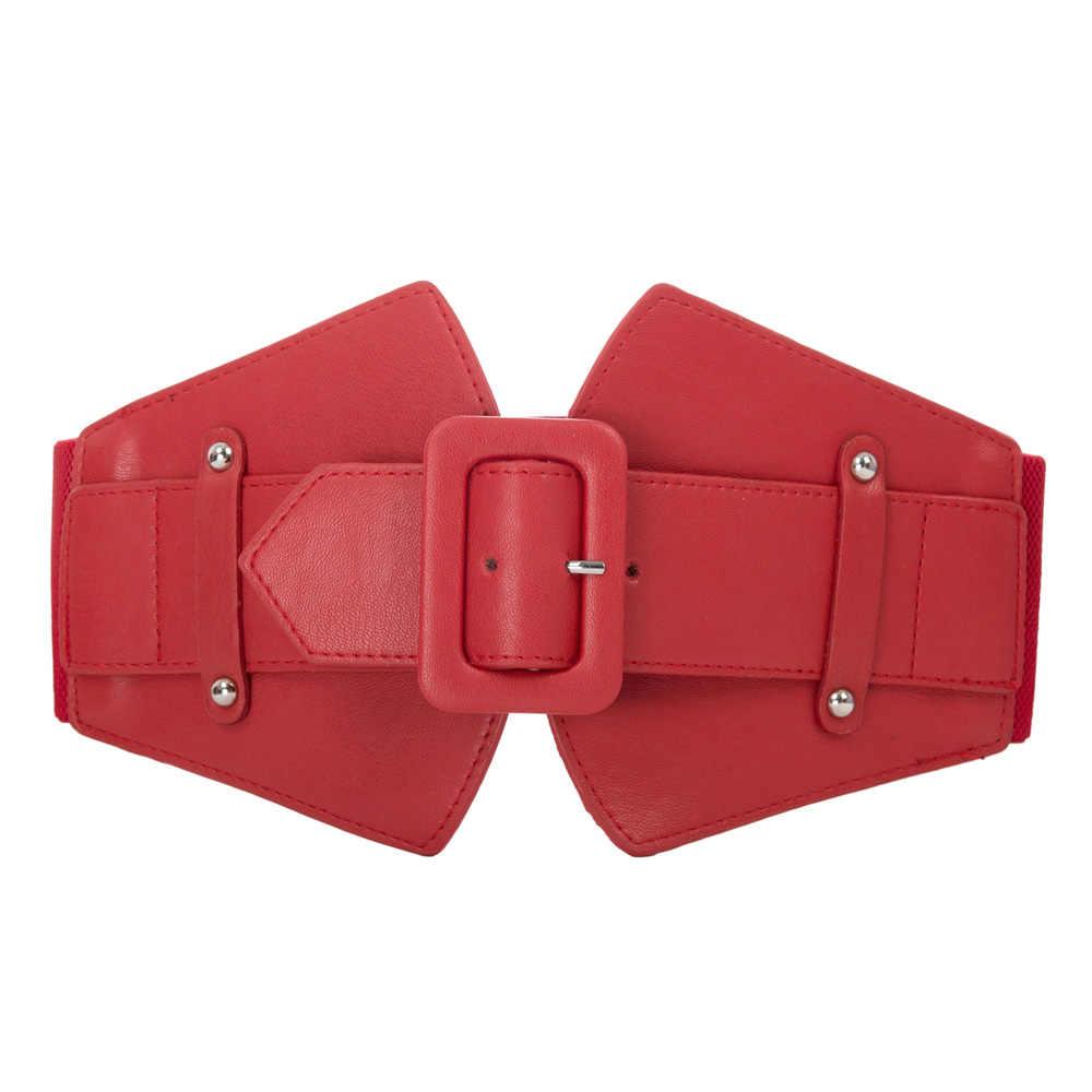 Señoras Cinturones Mujer 2018 moda negro rojo sólido estiramiento elástico cinturón  ancho femenino vestido adorno para c098b54034aa