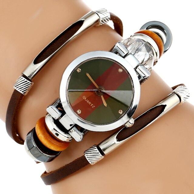 e6771d8a101 Nouvelle Montre En Cuir Véritable Femmes Triple Bracelet Montre-Bracelet De  Style Italien Café Vert