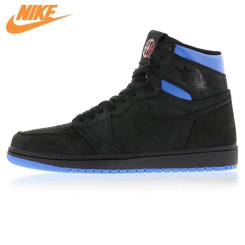 Nike Air Jordan 1 Retro Q54 Quai 54 Black Red and Blue Men's Basketball Shoes, Original Outdoor Cushioning Shoes AH1040 054