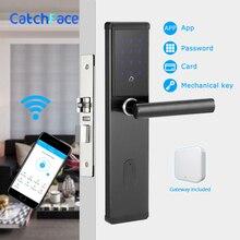 Fechadura da porta eletrônica, smart bluetooth digital app wifi teclado código keyless fechadura da porta, senha keyless fechadura da porta