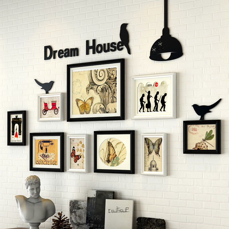 top quality 9 piecesset living room wall photo frame sets for home decor
