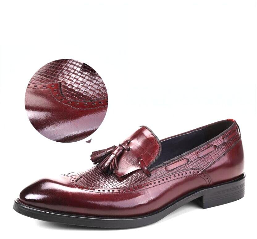 Zapatos Ganar Vestir Calzado On Moda Tinto Negro Formales Fiesta Negro Vivodsicco Con Genuino Borla De vino Boda Hombres Banquete Slip Rojo Cuero TFUy7B0pwq