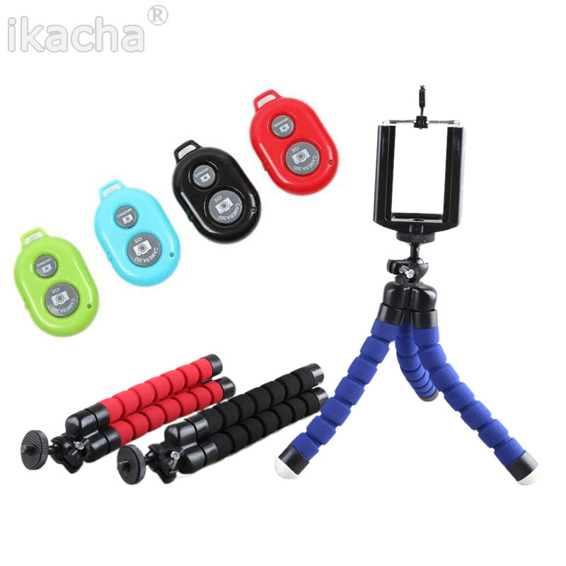 Digitális fényképezőgép Mini rugalmas háromlábú állvány állvány Monopod + telefon klip 1/4 csavar Iphone 6 5 4 4s Minden mobiltelefon