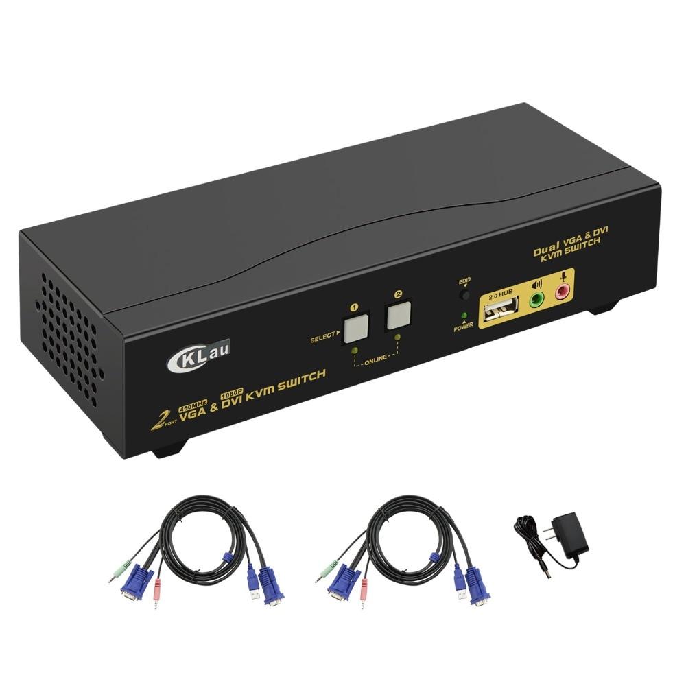 2 ports double moniteur KVM Swith, DVI VGA affichage étendu, prise en charge 2048x1536, 1080 P, avec moyeu USB2.0