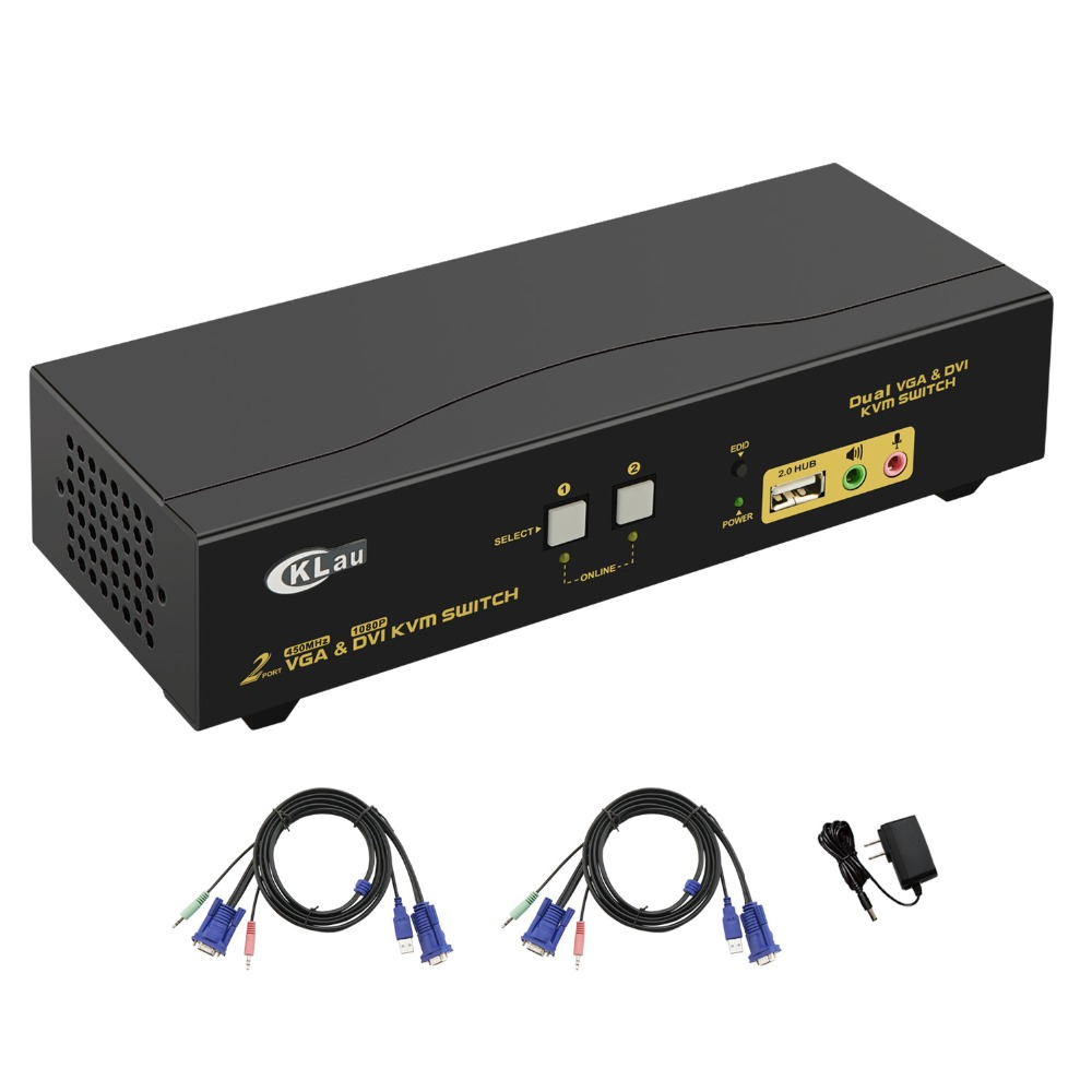2Port Dual Monitor KVM Swith,DVI VGA Extended Display, Support 2048x1536, 1080P, With USB2.0 Hub