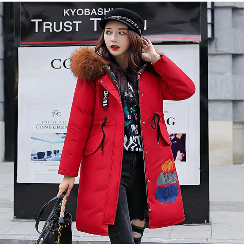 Womens Down Cotton Jackets New Plus size 3XL Parkas Thicker Hooded Big fur collar 2018 Winter High quality Wadded Coat Women in Parkas from Women 39 s Clothing