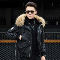 2019 New Winter Men Jacket Detachable Rabbit fur lining Hooded Black Short Men's Winter Coat Raccoon fur collar Male Fur Jackets