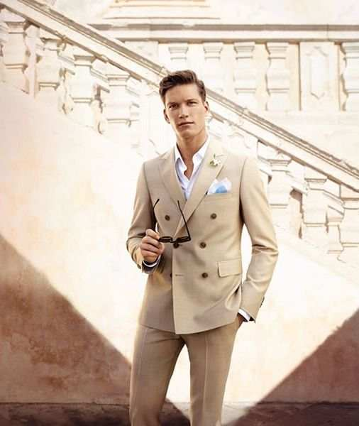301f75274192 Latest Coat Pant Designs Champagne Tan Double Breasted Men Suit Casual Tuxedo  Slim Fit Skinny 2