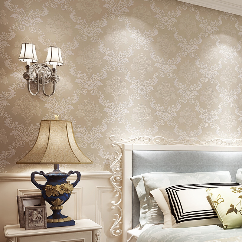 European Simple Luxury Wallpaper For Wall 3 D wall paper Classic Embossed TV Room Bedroom Wall paper Home Decor 53cm*9.5m/Roll european luxury beige deep blue damask wallpaper for wall 3 d classic embossed tv room bedroom wall paper home decor deming n71