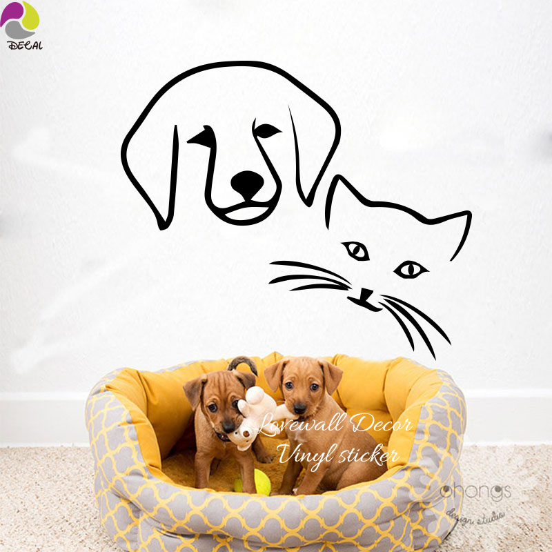 Cartoon Dog Cat Friendship Wall Sticker Kids Room Cute Animal Pet Head Wall Decal Children Room Cut Vinyl Home Decor DIY