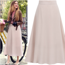 women clothes 2019 summer high waist  European and American wind pure color chiffon skirts long elastic korean style