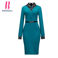 Buttons Polka Dot Bodycon Dress Turn Down Collar Split Belt Office Autumn Winter Dresses Women Patchwork