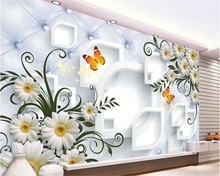 beibehang Custom high-rise wallpaper white chrysanthemum simple fashion soft package 3D backdrop