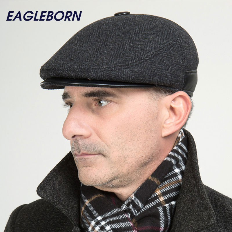 2019Brand New Winter Woolen Ear Elderly Dad Men Cap Thick Warm Beret Hat Classic Design Visor Cap Snapback High Quality The Aged(China)