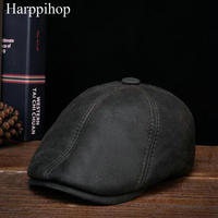 2017 host sell New Men's 100% Genuine beret Leather Cap Newsboy /Beret /Cabbie Hat/ Golf Hat winter warm hats with ears