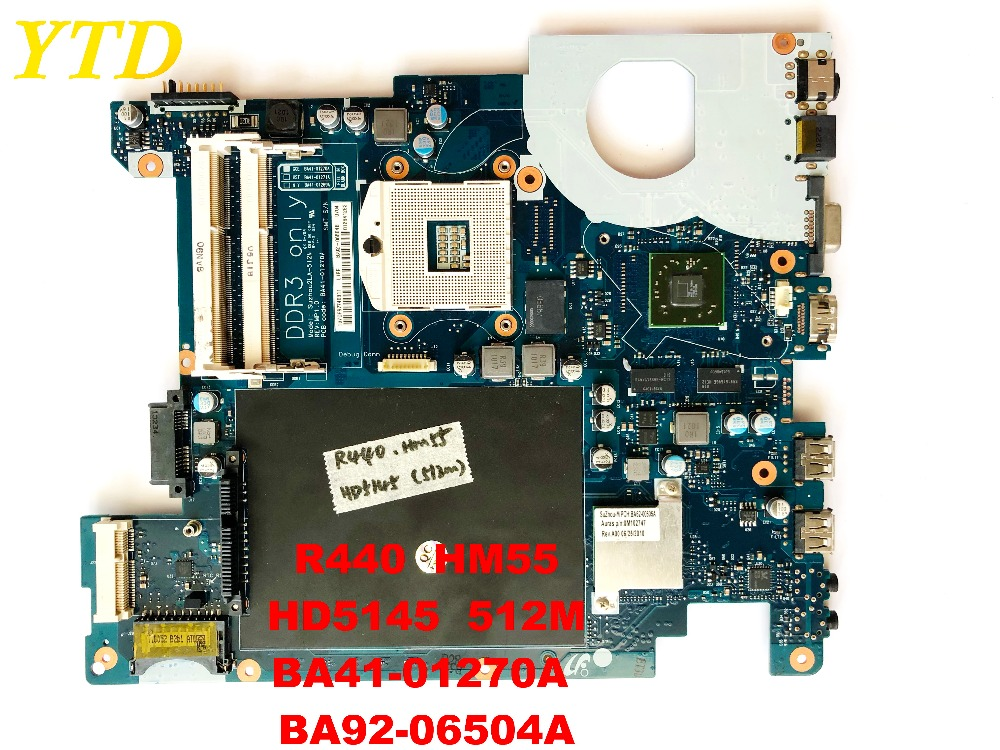 Original For SAMSUNG R440 Laptop Motherboard R440  HM55 HD5145  512M BA41-01270A  BA92-06504A Tested Good Free Shipping