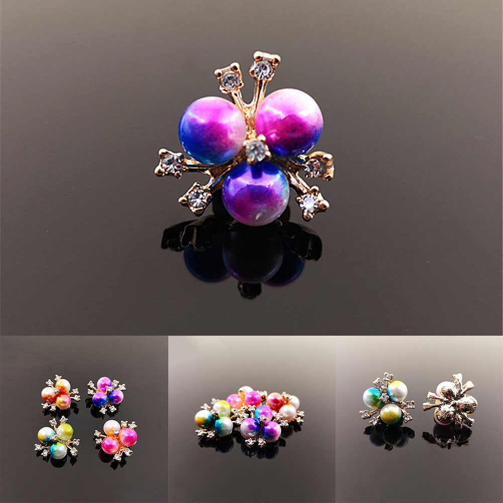 Colored Gradient Pearl FLower Charms Gift Diy Hair Ornament Material Headdress Bag Clothing Jewelry Accessories