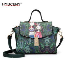 New fashion designer luxury brand high quality pu leather ladies green cartoon handbag shoulder bag female E71