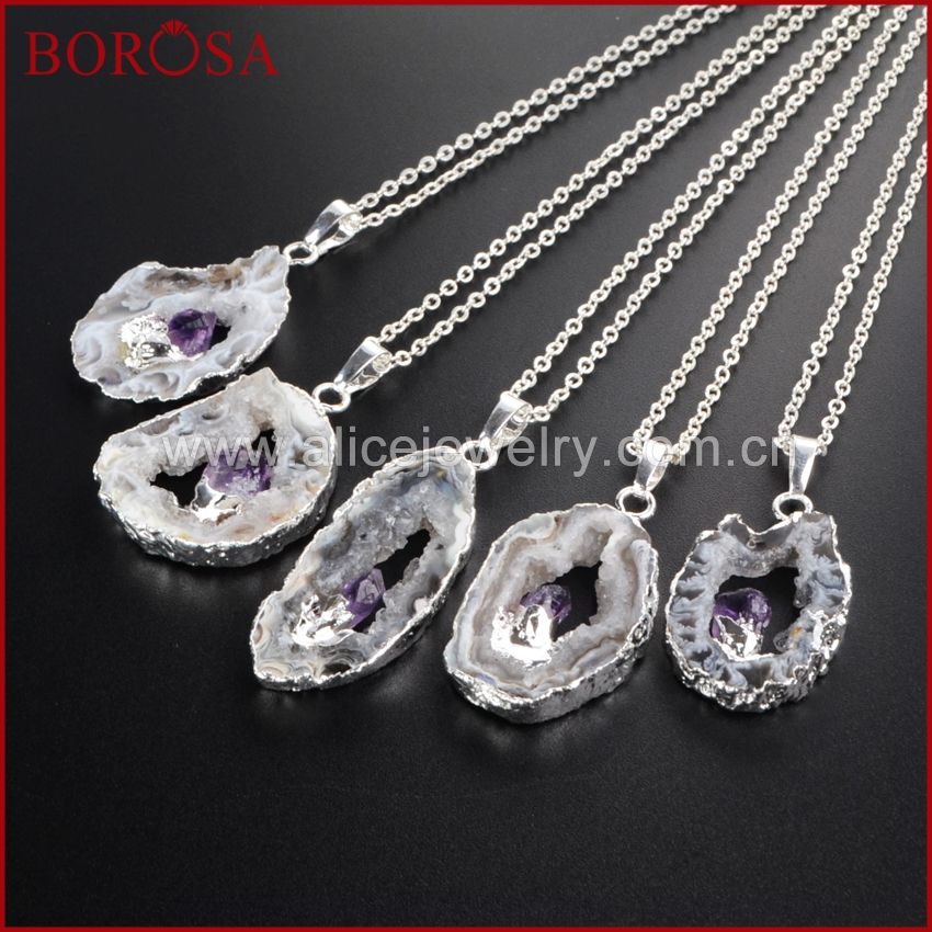 BOROSA Silver Color Freeform Inlay Natural Onyx Druzy Crystal Purple Crystal Slice Pendant with 16inch Chains