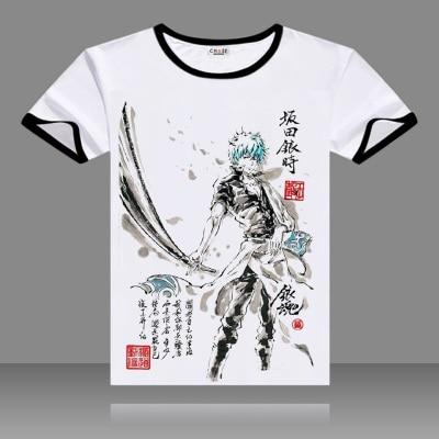 Anime Gintama Yorozuya Gin-Chan Cotton T-Shirt Cosplay Tee Shirts Tops Blouse
