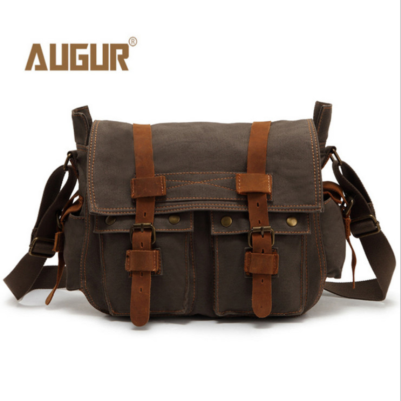 AUGUR New Hot Selling Vintage Mens Travel Bags Genuine Leather Men Messenger Canvas Bag Man Cross Body Free Shipping