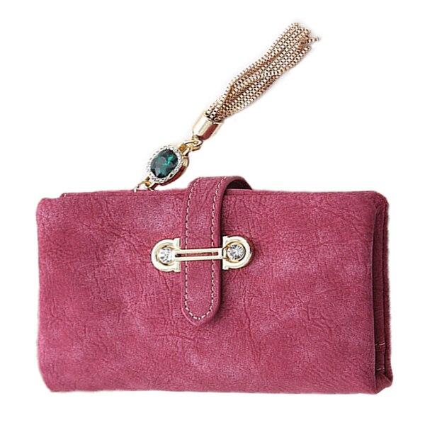 2017 New Fashion Women Wallets Drawstring Nubuck Leather Zipper Wallet Women's Short Design Purse Retro Tassels Clutch