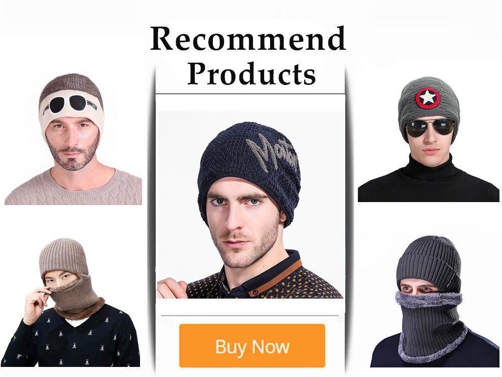 ✅Nuevo invierno sombrero de punto para hombres gorros caliente ...