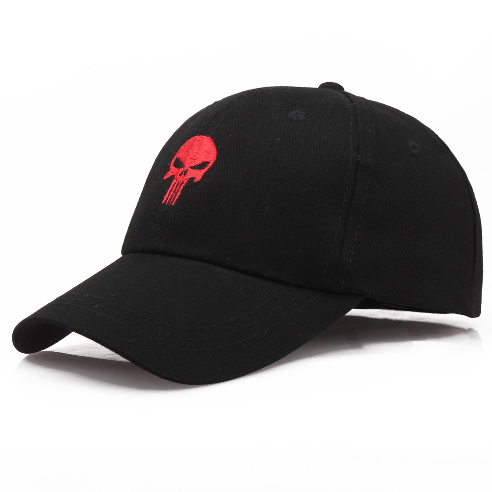 2018 Black Cool Skull Men/Women   Baseball     Caps   The Punisher Tactical   Cap   Personality Embroidery Sports Outdoor Snapback Hats