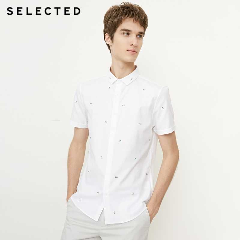 Мужская летняя рубашка из 100% хлопка с вышивкой, приталенная рубашка с короткими рукавами S | 418204547
