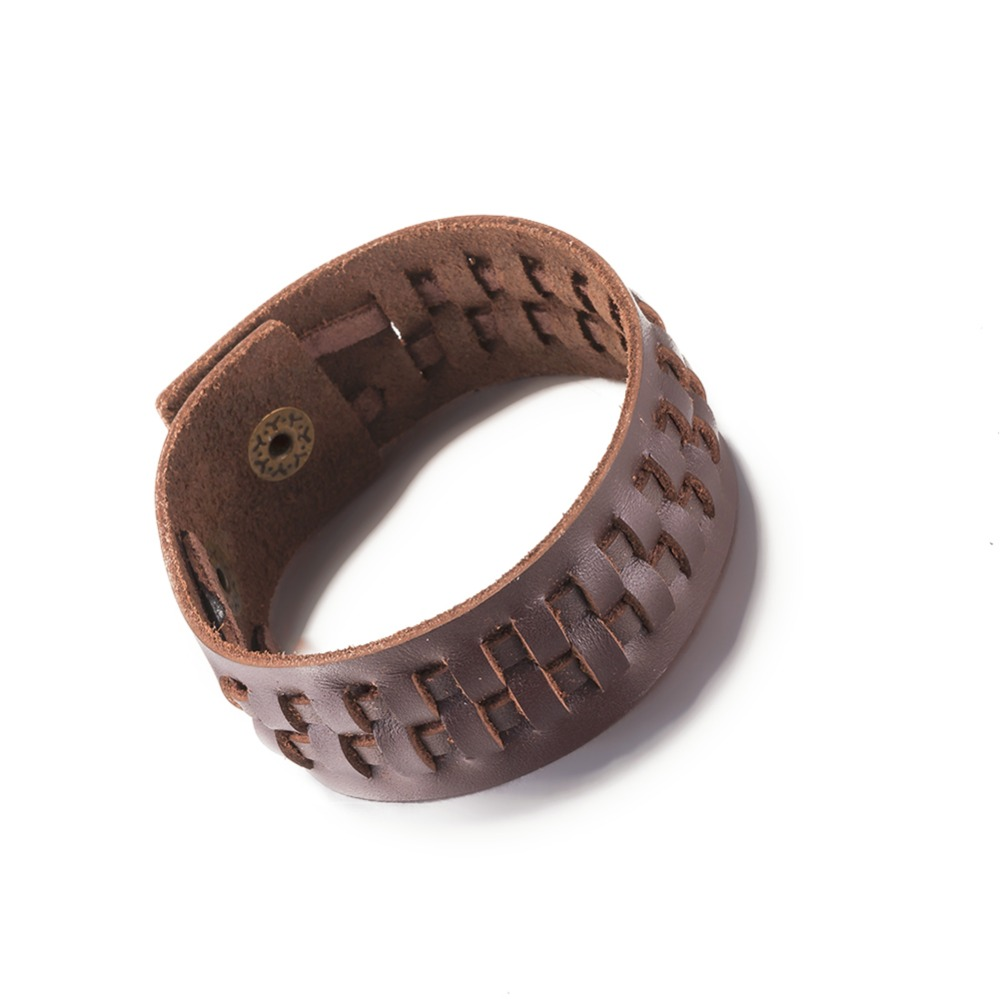 2016 New Fashion Vintage Leather Bracelet Cool Neutral Style Charm Jewelry  Brown Wide Bangles Top Quality