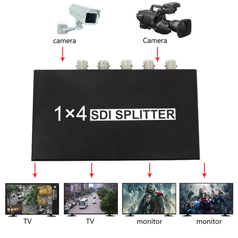 SDI Splitter 1x4 Video Converter 3G/HD/SDI repeater support 1080P Distribution Extender for Projector Monitor Camera sdi splitter 1x4 3g hd sdi repeater 4 port sdi splitter support 1080p 100m distribution extender free shipping